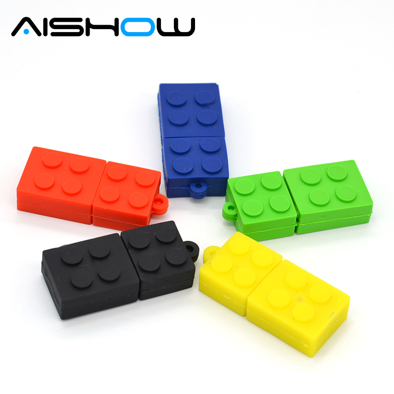 בניית בלוק USB Flash Drive 2.0 קריקטורה USB מקל צעצוע לחסום סדרה עט כונן 4GB / 8GB / 16GB / 32GB כונן עט חדשנות