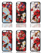 Luxury Crystal Diamond Sicily Daisy Floral Leather Phone Cover Coque for iPhone 6 Case 6s 7 Plus Case Rhinestone Dragonfly