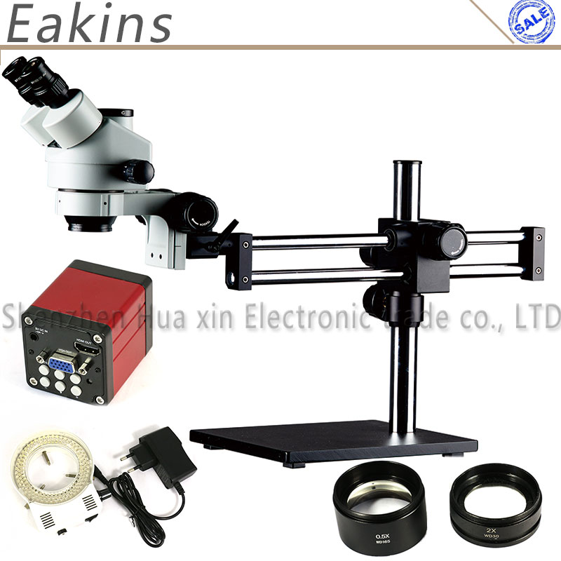 Simul Focal 3.5X ~ 90X непрерывное Масштабирование двойной бум стенд Тринокулярный стереомикроскоп 13MP HDMI камера VGA Универсальный кронштейн Arms