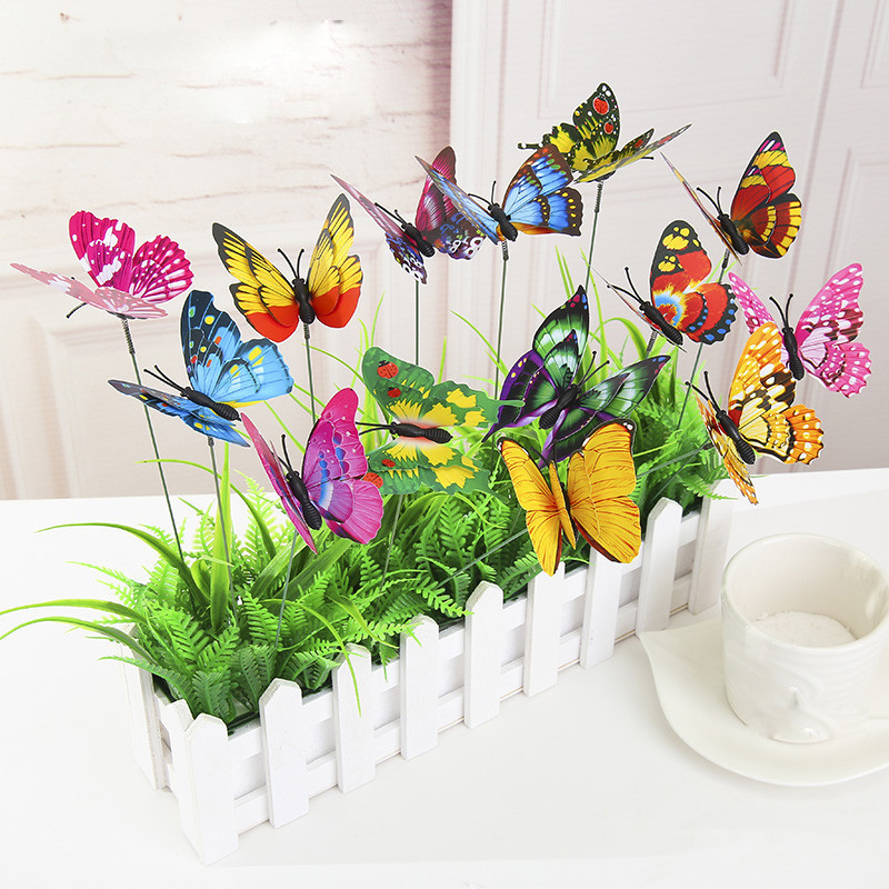 Garden butterflies on sticks double deck butterfly stakes for Outdoor butterfly decor
