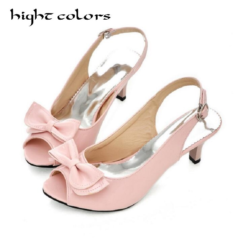 2017 Summer Open Toe Buckle Candy Color Sweet Sandals For Women Large Size 34 - 45 Female Medium Heels Shoes Women Casual Pumps sgesvier fashion women sandals open toe all match sandals women summer casual buckle strap wedges heels shoes size 34 43 lp009