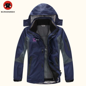 SYRINX Men Women Outdoor Soft shell Windbreaker Jackets Waterproof Anti-UV Removable 3 in 1 Breathable Fishing Camping Jacket