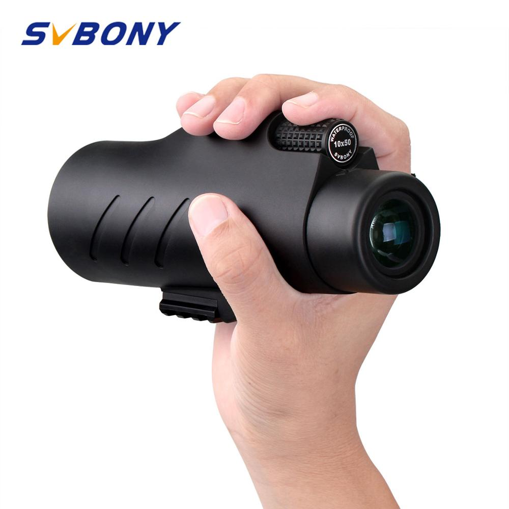 SVBONY 10x50 Monocular BAK4 Prism Waterproof Broadband Multi coated Telescope for Hunting Camping Hiking w Hand