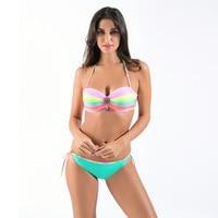 Latest Hot Beach Rainbow Sexy Bandeau Swimsuit Women Bikini Set Strappy Side Neno Trible Stripe Push