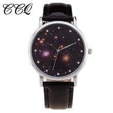 CCQ Model New Trend Starry Sky Watch Informal Leather-based Bracelet Girls Quartz Watches Wristwatches Relogio Feminino Clock C26