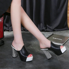 The new summer 2019 waterproof thick with sandals zebra high-heeled shoes fish mouth manual nightclub slippers  platform heels sexy nightclub waterproof shoes 16cm heels spring and summer sexy fine with the fish head high with sandals