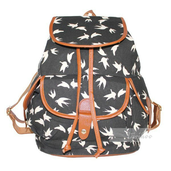 Hot Women Canvas Casual Animal Printing Backpack Bird Owl Swallow ...