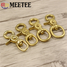 Meetee 2pcs 14-38mm Pure Brass Buckles Metal Dog Collar Hook Clips DIY Luggage Straps Sewing Accessories BD271