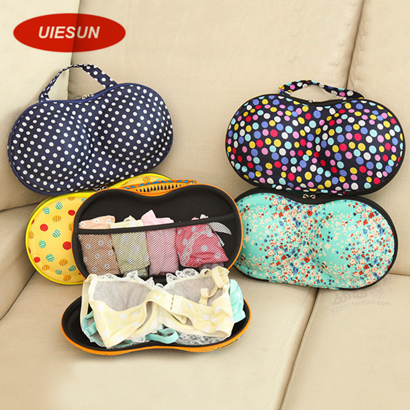 2016 Newest pattern women portable bra storage box lady underwear storage organizer box bra case UIE192