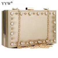 Leather Rivet Box Bags For Women 2018 Fashion Clutch Evening Crossbody Bag With Glass Pearl Rectangle Chain Shoulder Handbag