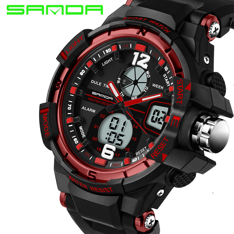 Sports cool men's quartz and digital watches SANDA luxury brand LED military waterproof watch sports watch relogio masculino