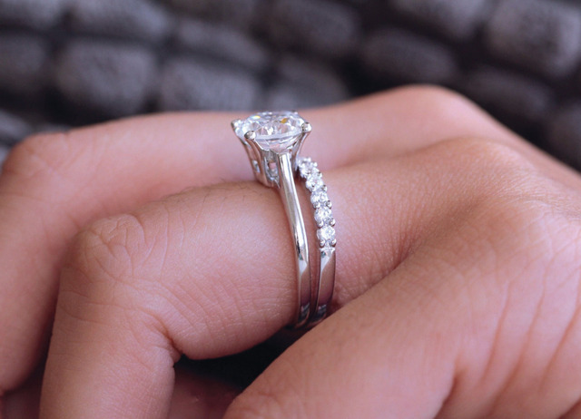 2.8CTW Brilliant Cut Simulated Diamond 925 Sterling Silver with Gold Wedding Engagement Ring
