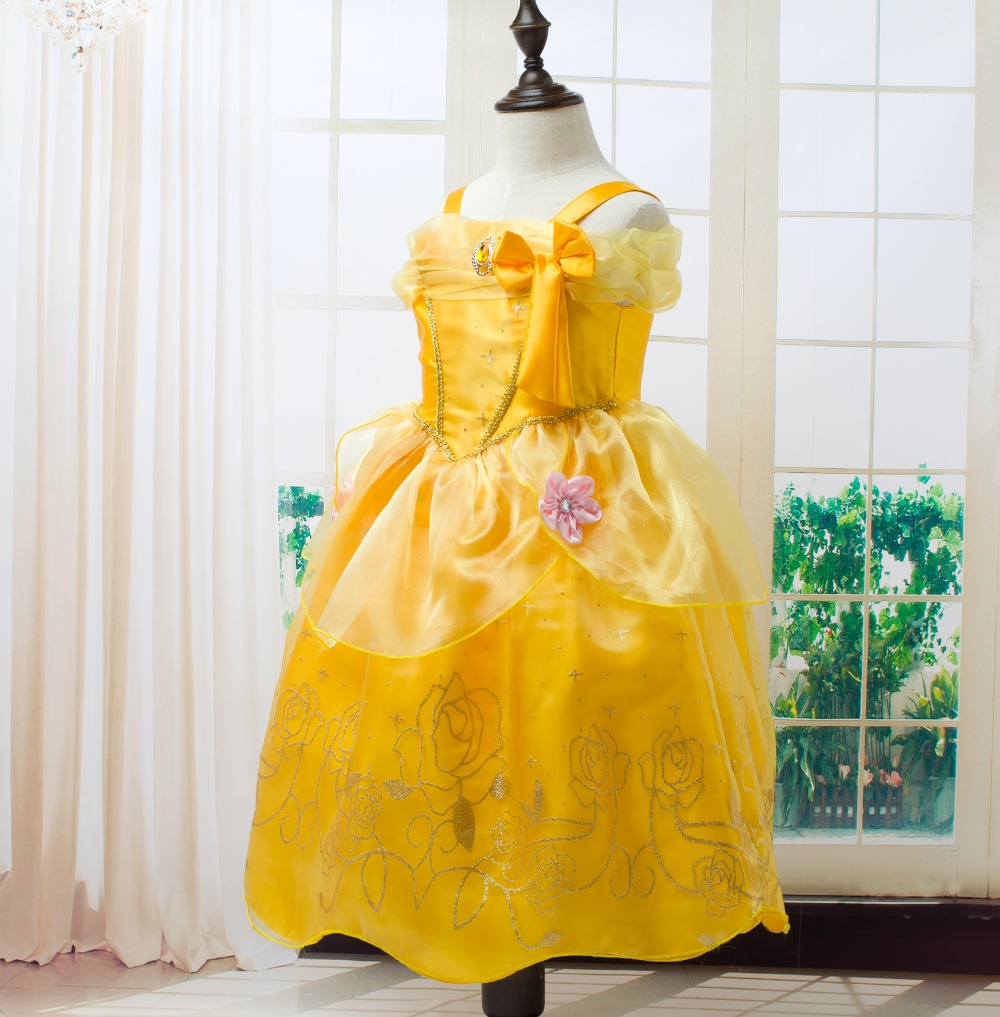 Toddler-Girls-Summer-Belle-Dresses-Princess-Costume-Party-Clothing-Beauty-and-the-Beast-Yellow-Dress-Sleeveless-Clothes-2