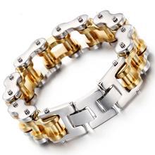 цена на Granny Chic Bracelet For Men 316L Stainless Steel Silver Gold Biker Bicycle Link Chain Bracelet Hip Hop Men Jewelry 22mm 8.66