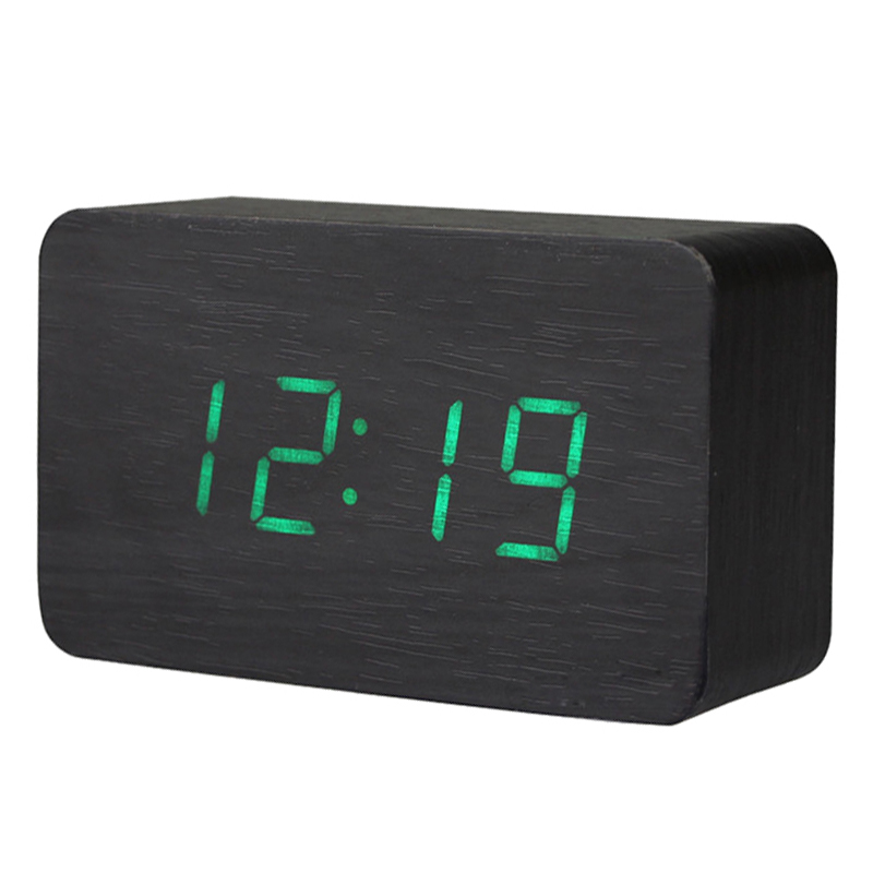 Wooden LED Digital Clock Alarm Clock Time Thermometer Calendar USB / AAA black and green