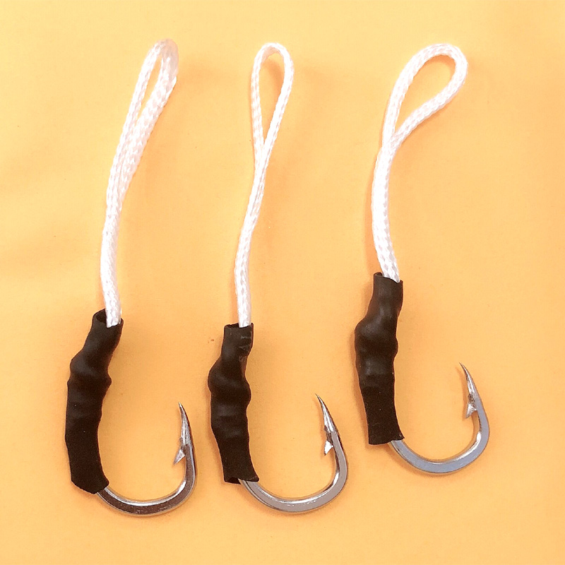 20 pcs Stainless Steel Jig Assist Hooks Black Tube With PE Line Barbed Fishhooks Saltwater Fishing hook