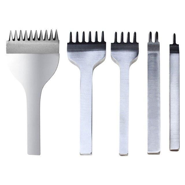 3-6 мм зубец Кожа Craft Пробивание отверстий Инструмент кожа шить Вышивание удары шить удар 1 + 2 + 4 + 6 зубцами Кожевенное ремесло Инструменты