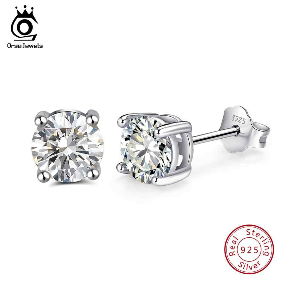 ORSA JEWELS 925 Sterling Silver Women Stud Earrings 12 Color Month Lucky Birthstone AAA Cubic Zircon Earrings Girls Jewelry SE84