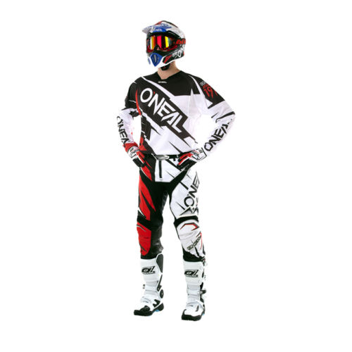 цена на Free shipping 2017 O'Neal White/Red/Black Mens Hardwear Flow Jag Dirt Bike Jersey & Pants Kit Combo