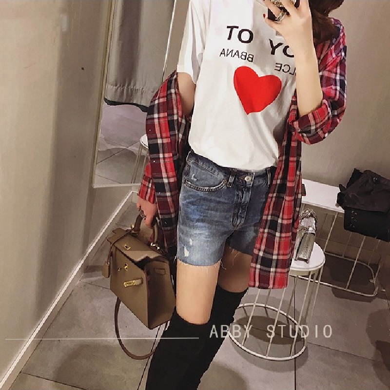 2019 Spring Summer Harajuku Letter Heart Print Short Sleeve T-shirt Women Korean Style Streetwear Female T shirt Tops Clothes