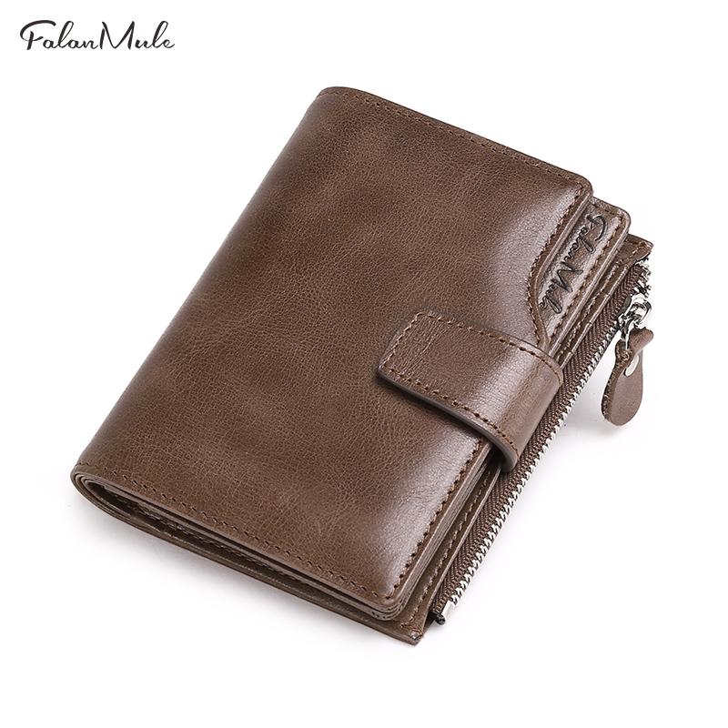 FALAN MULE vintage genuine leather men wallets brand male hasp large capacity wallet purse banlosen brand men wallets double zipper vintage genuine leather clutch wallets male purses large capacity men s wallet