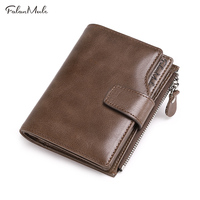 FALAN MULE Vintage Genuine Leather Men Wallets Brand Male Hasp Large Capacity Wallet Purse