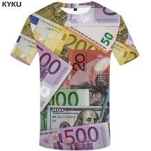 KYKU Marca Dollaro T shirt Dei Soldi Degli Uomini di Magliette Casual Russia T-Shirt 3d Stati Uniti Tshirt Stampato Harajuku Camicia di Stampa