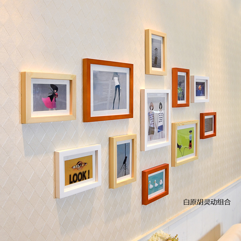 11pcs mixed color photo frame set modern wooden wall photo frame family picture album wedding photo