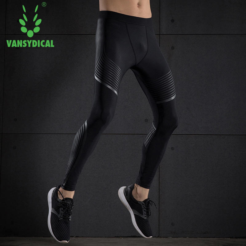 5149200f80 Vansydical Men's Gym Compression Pants Elastic Quick Dry Fitness Running  Tights