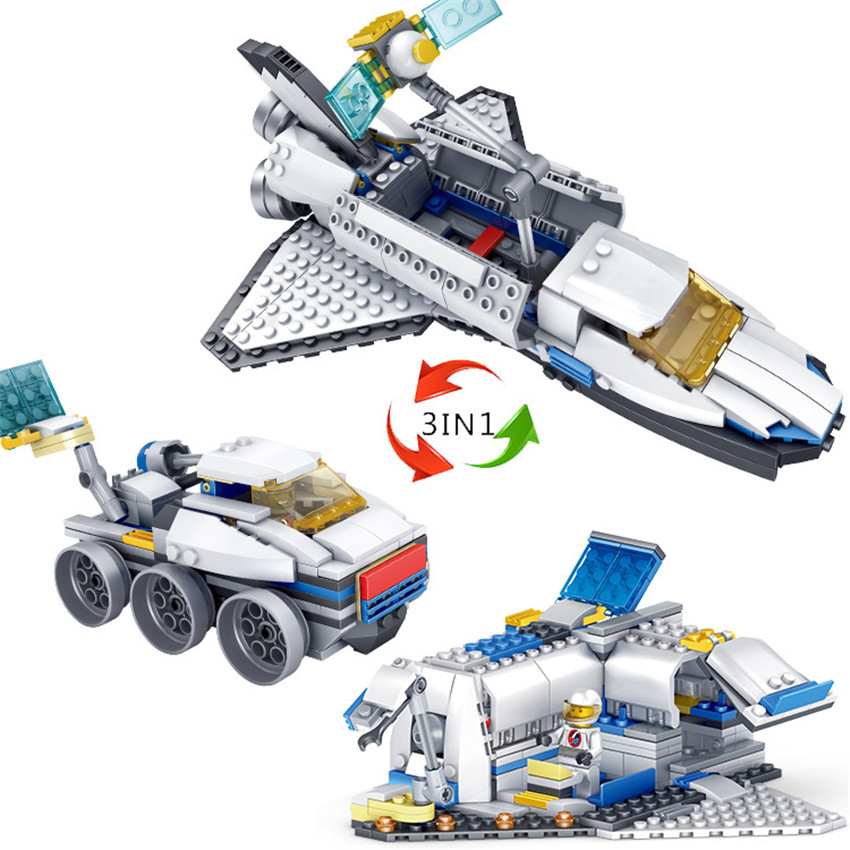 KAZI New 3 in 1 City Series Caravan Camping Car Space shuttle Legoingly Blocks Toys DIY Building Bricks Gifts for Children (4)