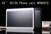 Tablet pc 2G/3G phone call 10 pulgadas MTK6572 doble tarjeta sim dual core de doble cámara de Android 4.4 1.2 GHZ 512 MB/8 GB envío libre caliente