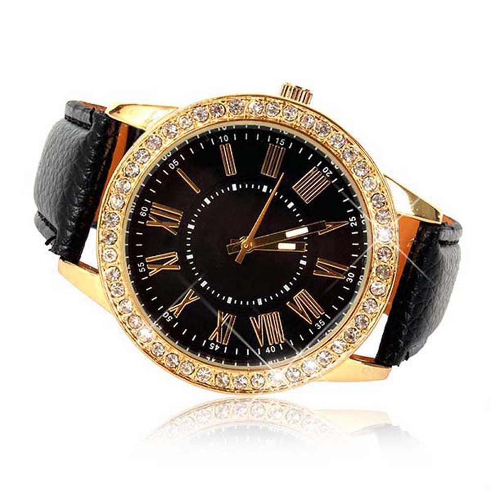 men women beautiful  fashion Bling Gold Crystal Women Luxury Leather Strap Quartz Wrist Watch  free shipping hot sale 2 luxury women rhinestone bangle crystal flower bracelet quartz wrist watch men fashion sale hot style selling