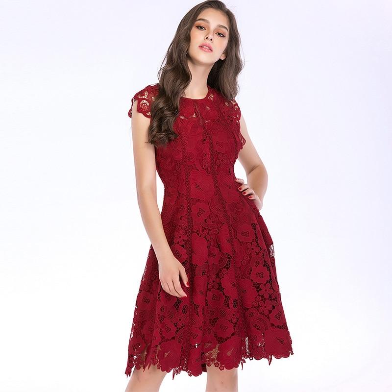 cc056142838f Dolce Di Rosa Vestito Sfera Delle Floreale red Pink Senza Crochet Maniche  2019 Casual Pizzo Del Scava Donne Femminile Romantico Midi Vestido Estate  Abito ...
