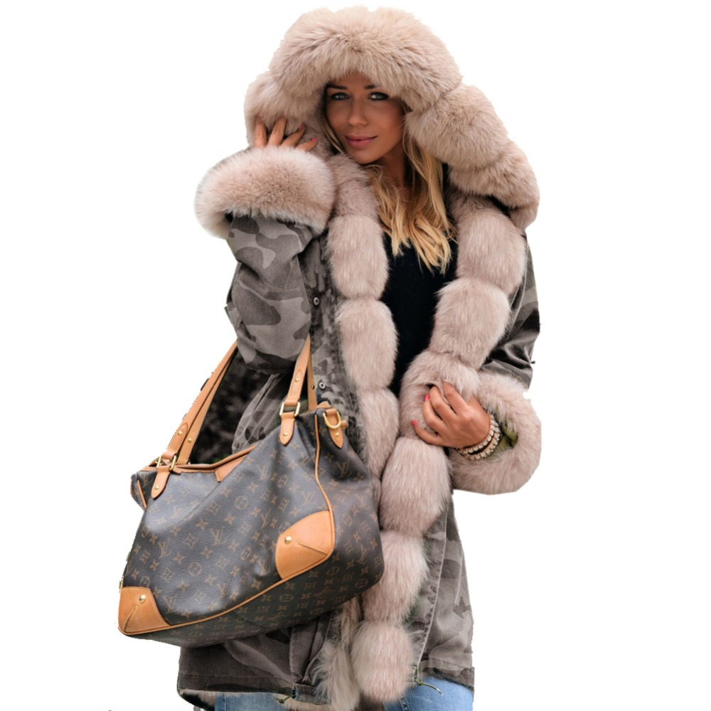 Roiii Hot Sale New Fashion Women' s Winter Grey Coat Camouflage Loose Overcoat Thicken Hooded Jacket Female Plus Size