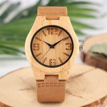 Минималистичные женские деревянные часы легкий вес бамбуковый