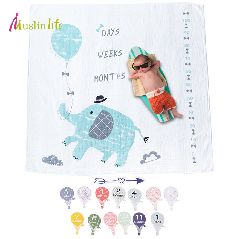 Muslinlife Baby Blankets Newborn Cartoon Infant Swaddle Wrap Blanket Super Soft Muslin Baby Photography Props Milestone Blanket