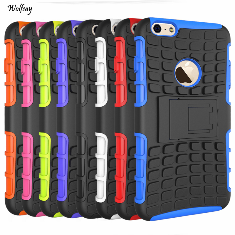 Cover For IPhone 6s Plus Case 6 Plus Rubber & PC Fundas Case For Apple IPhone 6s Plus 6 Plus Phone Coque With Holder Stand