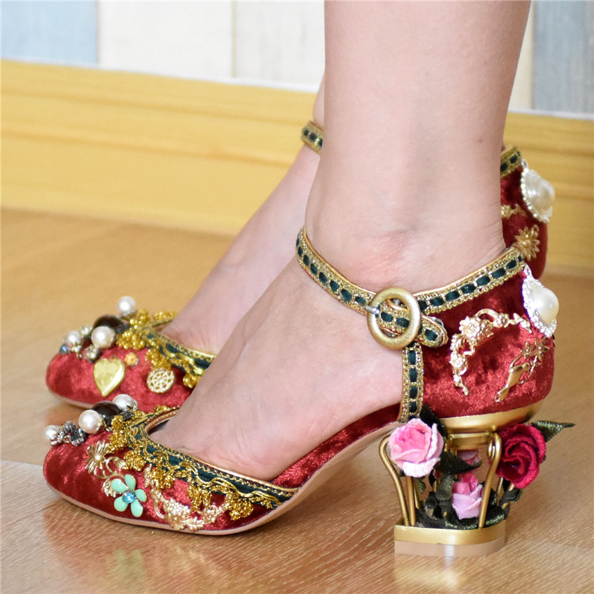 Luxury Vintage Beading Women 7CM High Heels Birdcage Heel Ankle Buckle Women Pumps Wedding Shoes Woman Stiletto Cinderella Shoe