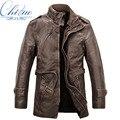 2016 новый кожаная куртка мужская шерстяное пальто длинный меховой воротник пальто мужские ПУ кожаная куртка теплая куртка ветровка М-4XL