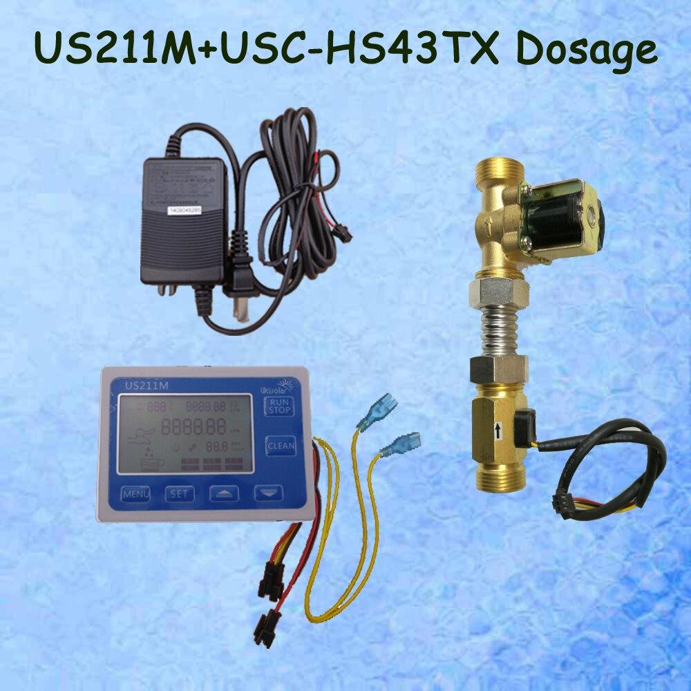 US211M Water Flow Sensor Reader Digital Flow Meter with USC-HS43TX hall effect water flow sensor and solenoid valve