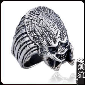 Действительно 925 серебряный vintage лаки Pure ручной работы череп Чужой Hunter Predator кольцо для мужчин женщин