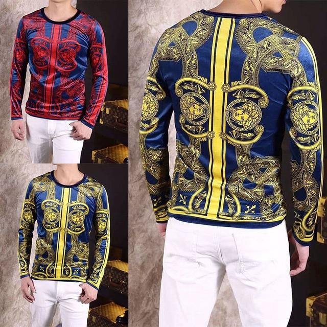 Luxe Royal De Baroque chemise 2017 Top Mens Barocco Or Marque Motif 8aqWUxFw