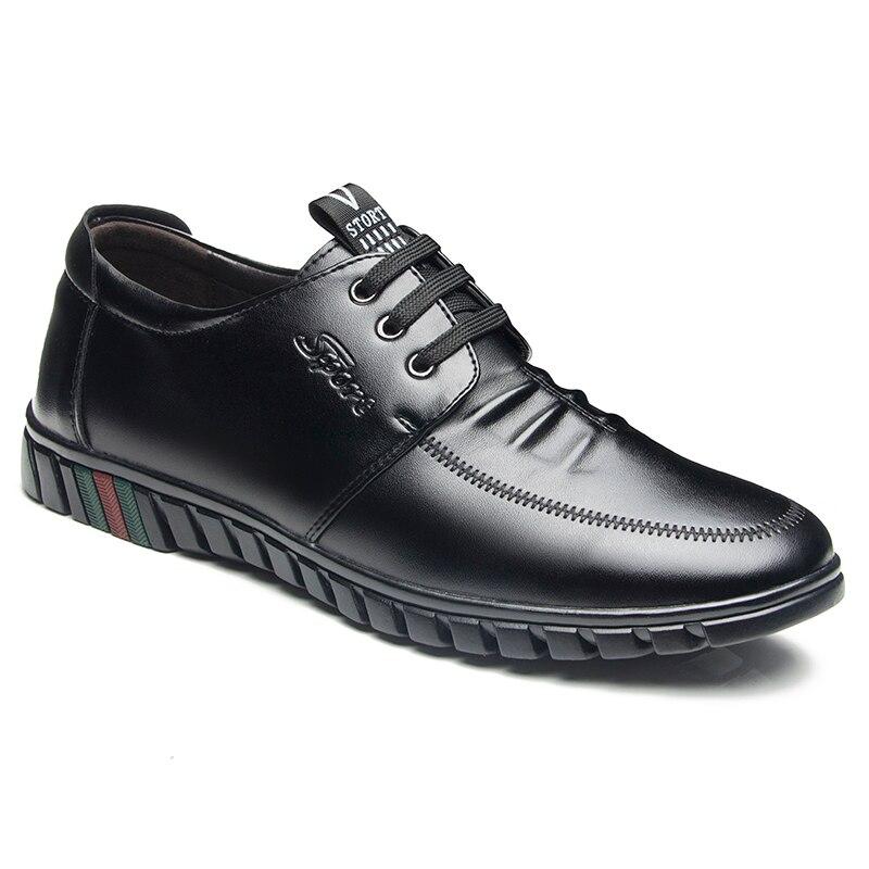 Estilo on Sapatas De Slip Casuais Dos Preto Simples Homens Shengkuang Sapatos Couro Formais Black Sapato xfIvxw