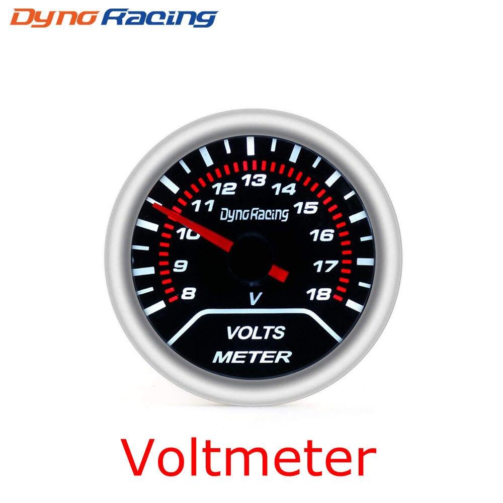 """Dynoracing """" 52 мм Автомобильный манометр бар psi температура выхлопных газов температура воды Температура масла пресс воздуха датчик топлива вольтметр Тахометр - Цвет: Voltmeter"""