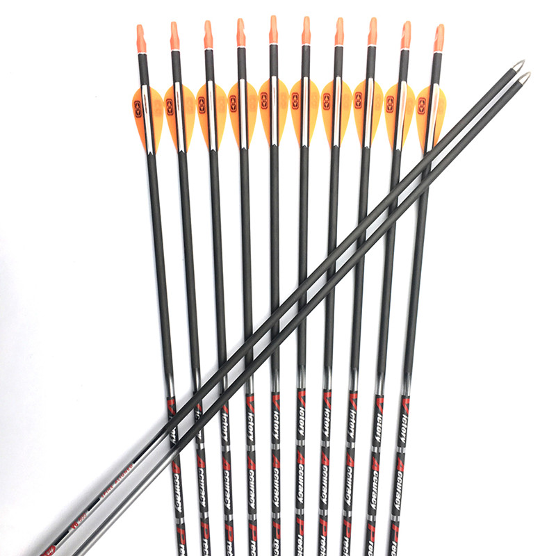 6PCS Carbon Arrows Spine350 900 ID4 2mm 30 80gr Point Pin Nock for Recurve Bow Hunting