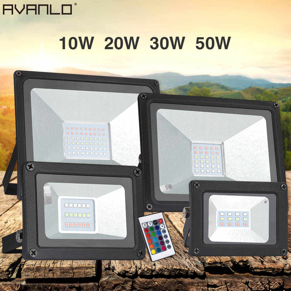LED 10W 20W 30W 50W  RGB / White / WW Waterproof Multi-color Flood Outdoor Rainproof Lamp Lighting Courtyard Light Floodlight