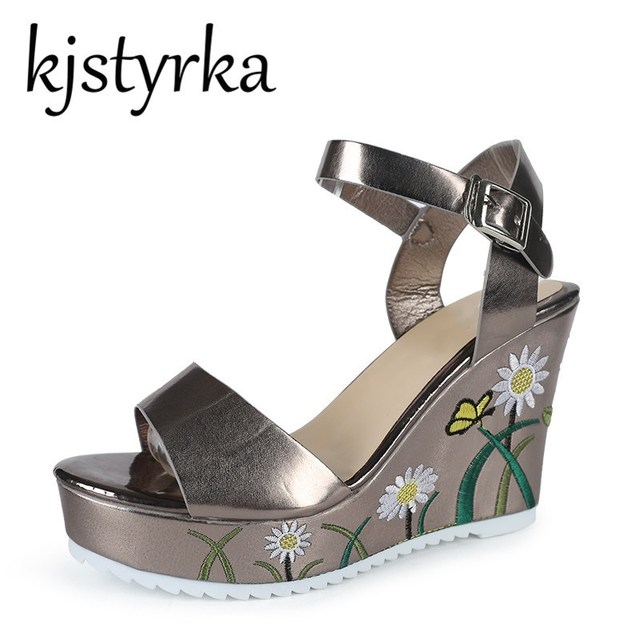 46fab199dad Kjstryrka Embroidery Platform Women Sandals Closed Wedge High Heel Party  Ladies Branded 2018 Summer Shoes Hidden Heels Silver