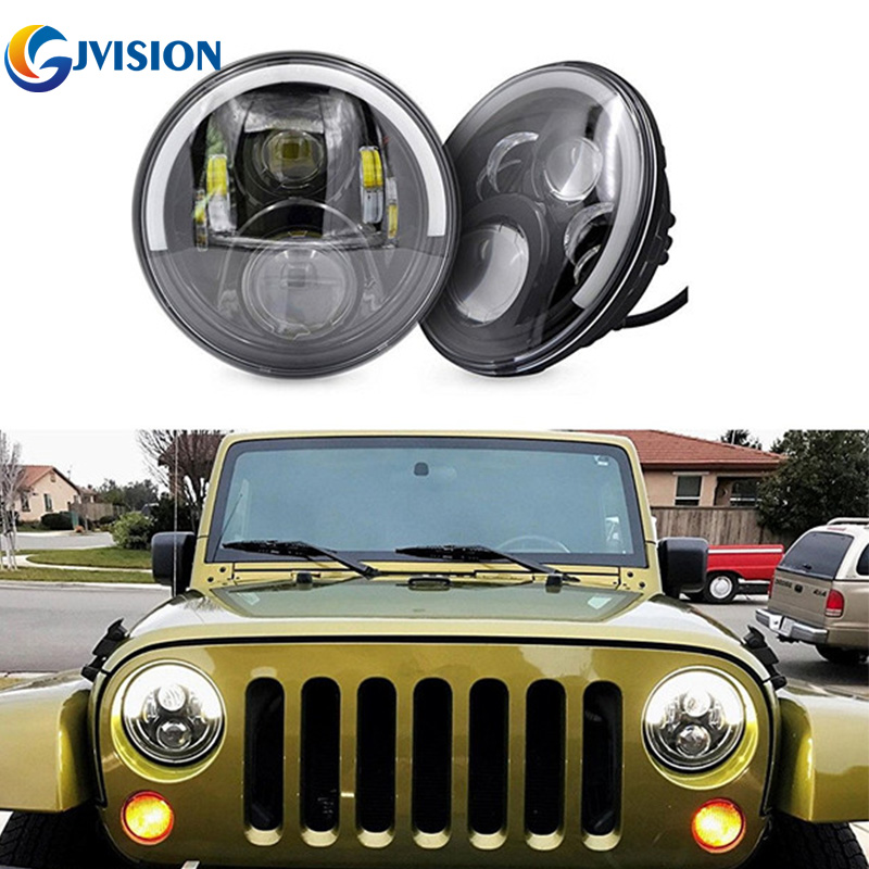 50W LED motorcycle headlight 7 round Harley projector daymake headlamp for Jeep Wrangler Hummer LandRover  headlight kit