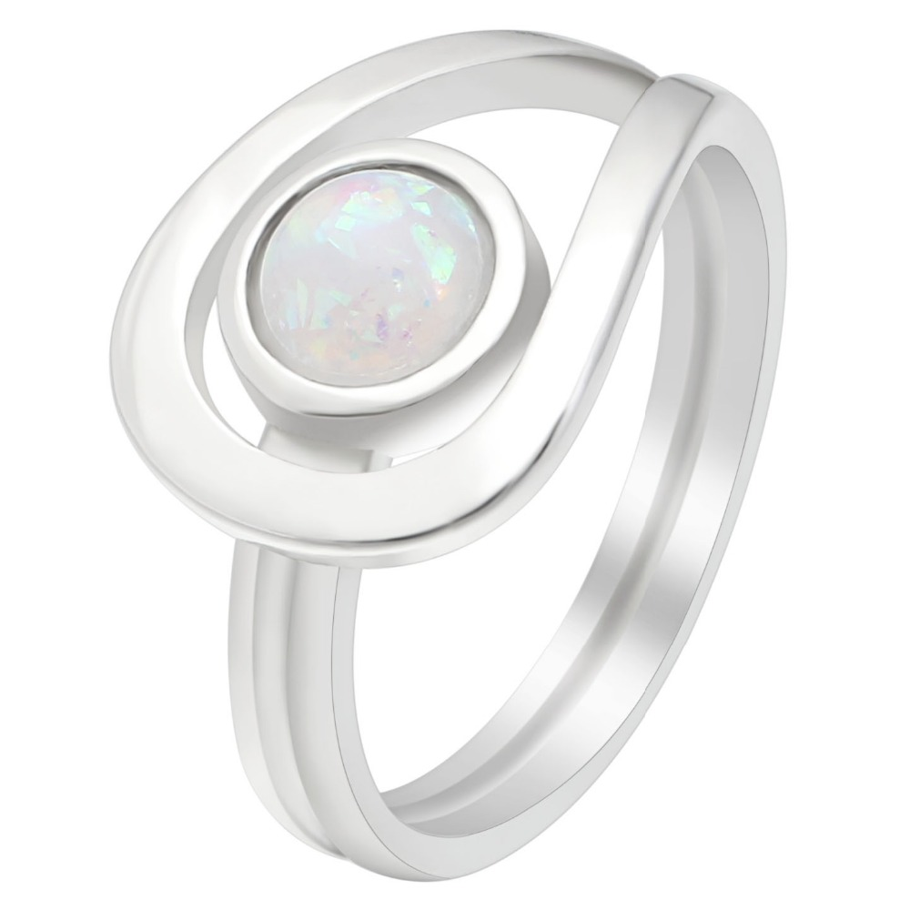 Hainon Simple Fire Opal Rings Women Lady Rings White Fire Opal Silver Color Filled Wedding Party Engagement Eye Shaped Rings