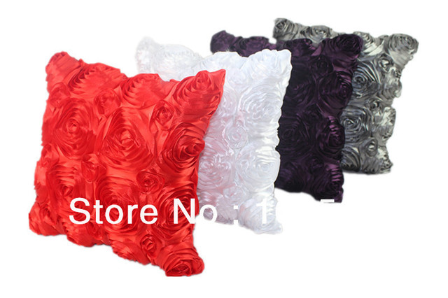 Free Shipping 100% Polyester Satin Embroidery Cushion Cover For Wholesale & Retail HT-PSEC-02